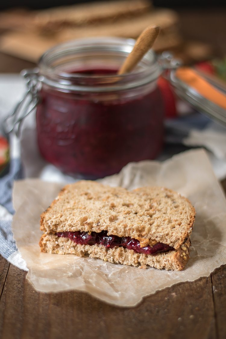 super easy naturally sweetened chia seed blueberry strawberry jam