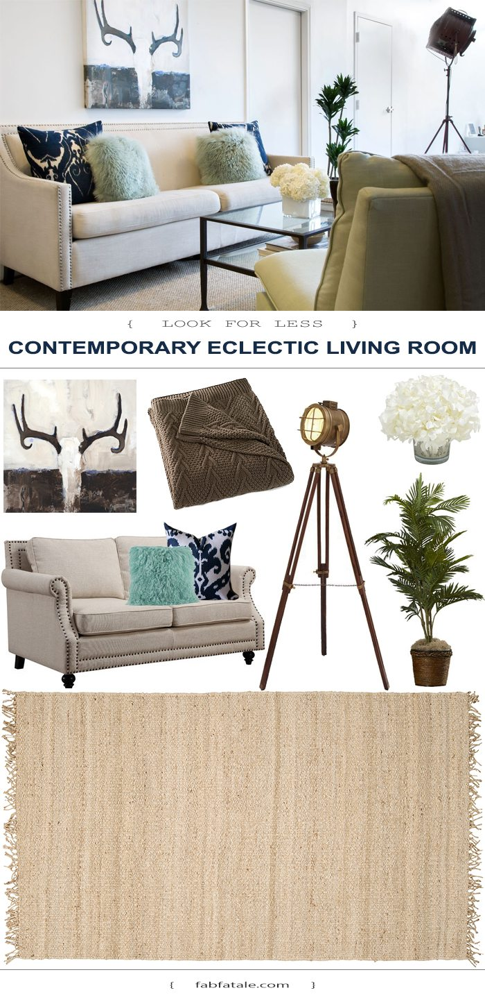 this contemporary eclectic transitional living room is so my style! love the indigo blue and neutral color palette. the skull antlers artwork and ikat throw pillows are must haves!