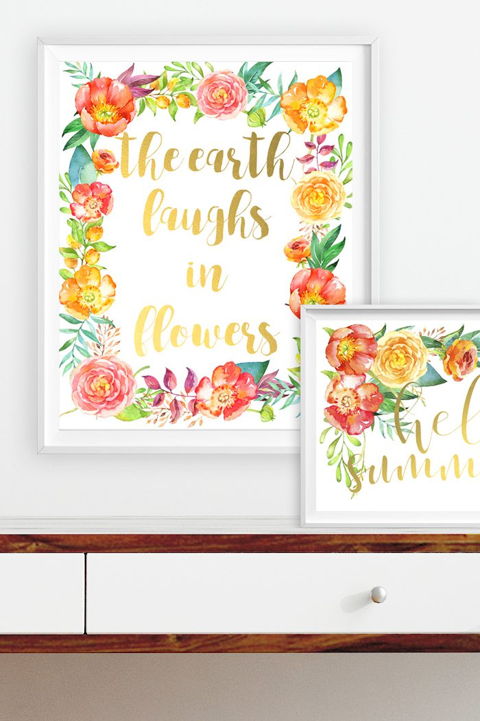 free summer art printables - 'hello summer' and 'the earth laughs in flowers' prints with flowers and gold foil lettering. perfect for note cards, a desk frame, or to update your gallery wall
