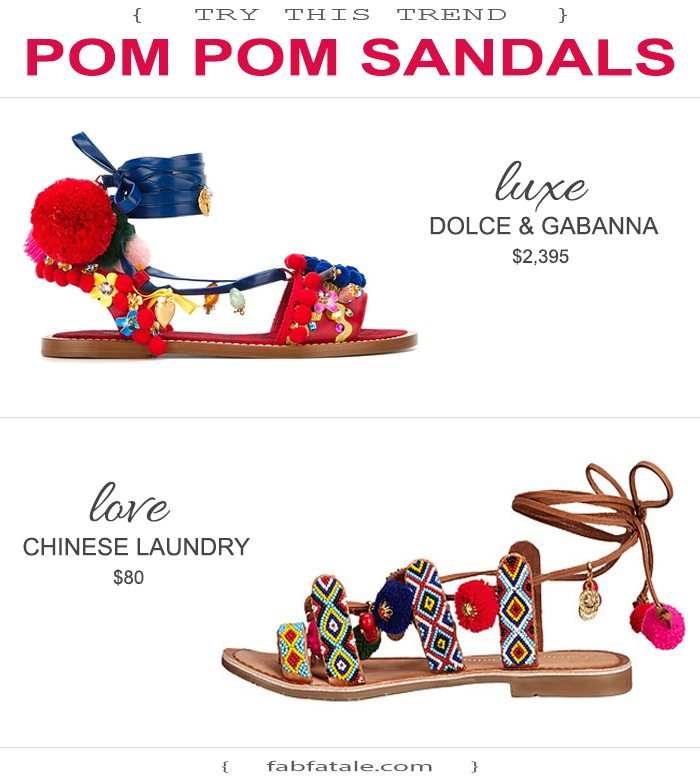 pom pom details have taken a very dramatic turn, just in time for summer! loving pom pom sandals and clutches this season.