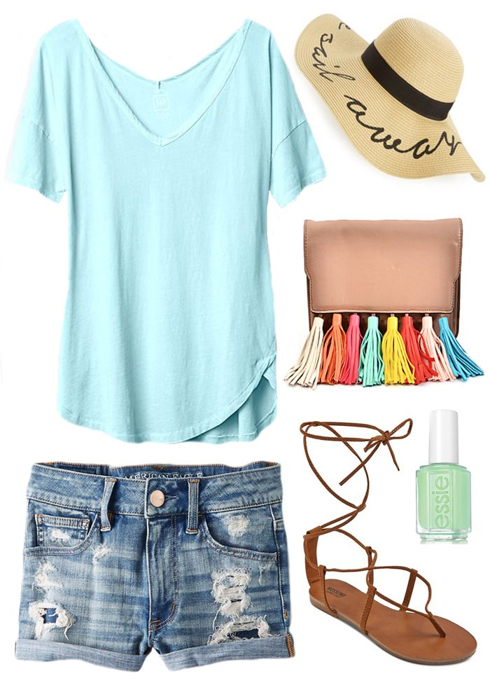 keep cool all summer long in these made for summer outfits - (eugina kim look for less) floppy hat, rainbow tassle clutch, lace up gladiator sandals, and destroyed denim shorts