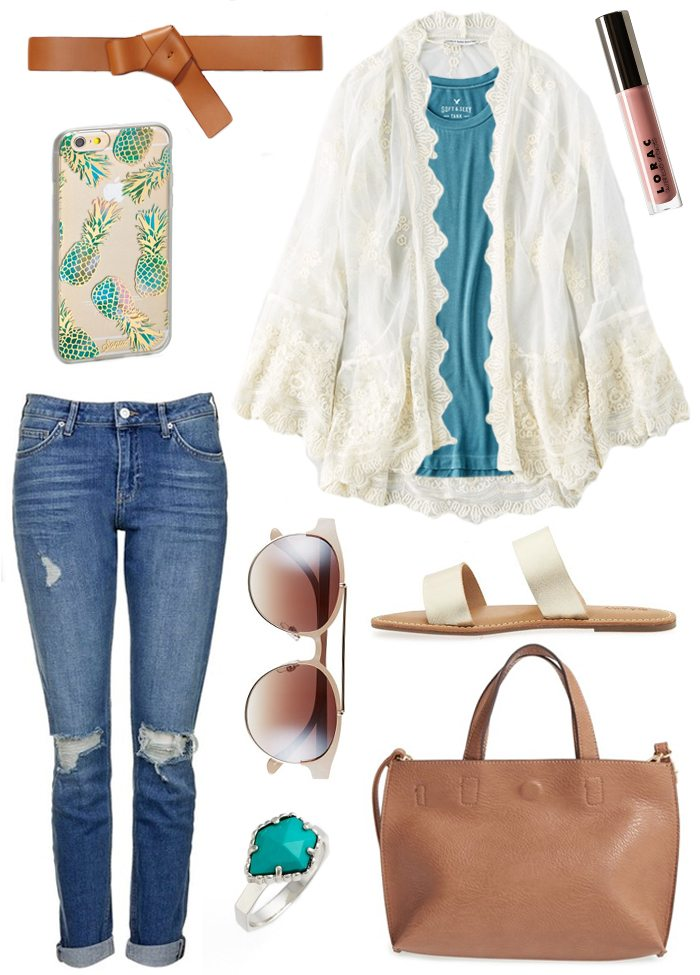 keep cool all summer long in these made for summer outfits - pineapple iPhone case, slide sandals, brow bar sunglasses, kendra scott turquoise ring, rebecca minkoff tote