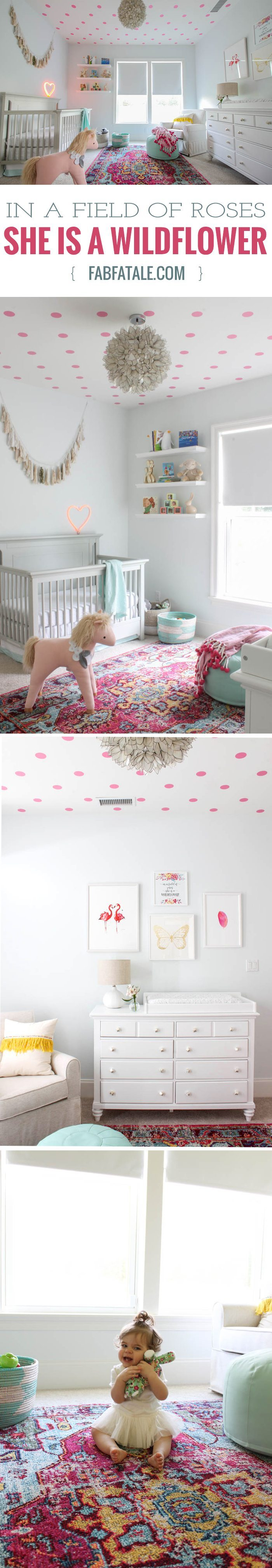 in a field of roses, she is a wildflower, that was the inspiration behind my baby girl nursery, featuring a lotus chandelier, pink polka dot decal ceiling, white dipped baskets, butterfly, flamingo, and feather prints, penguin bookends, and a unicorn. i love her magical space!
