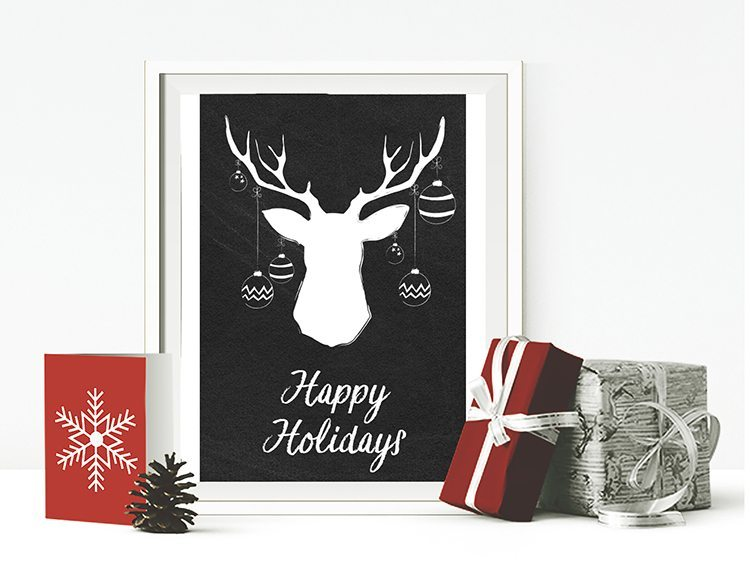 loving these free christmas printables, 6 chalkboard printables to choose from for free download - holiday deer with ornaments, happy holidays