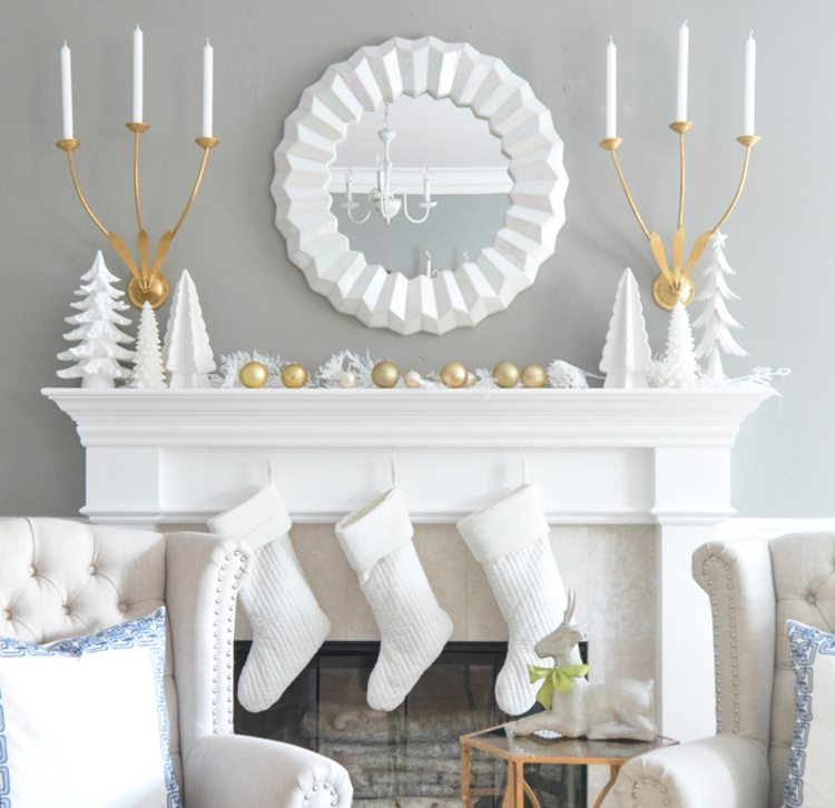 loving all of these simple, beautiful, winter white Christmas mantles. the decor is so festive!