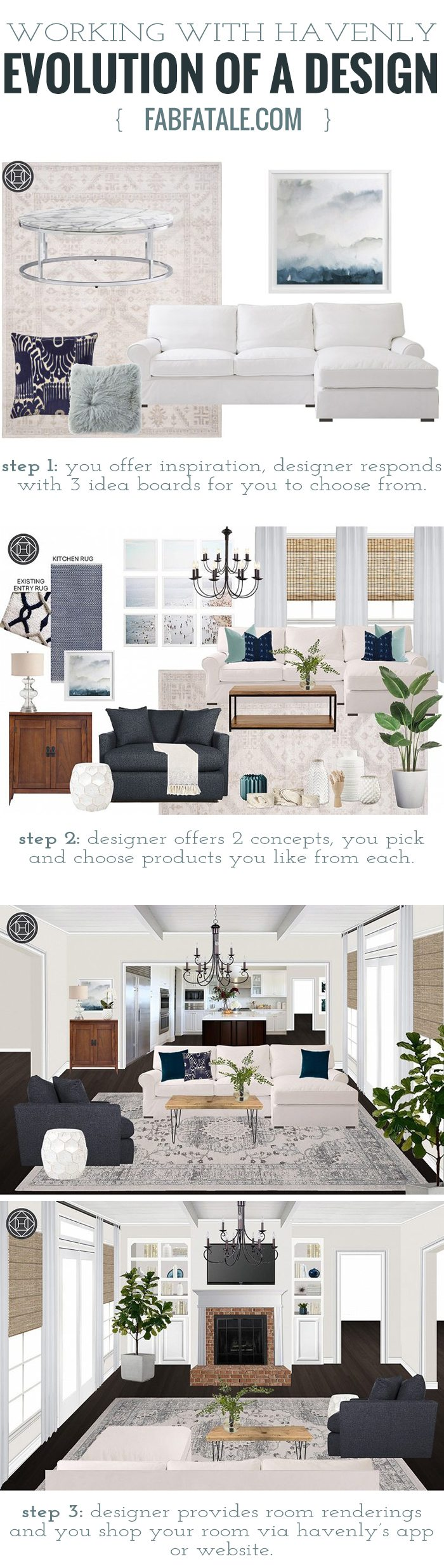 if you've ever wondered what it's like to work with @thehavenly, the amazingly talented interior decorators that offer full room designs in an online service via their app, i've outlined the step-by-step service, including my rustic boho living room renderings and my comments shared with my designer #homedecor #interiordesign