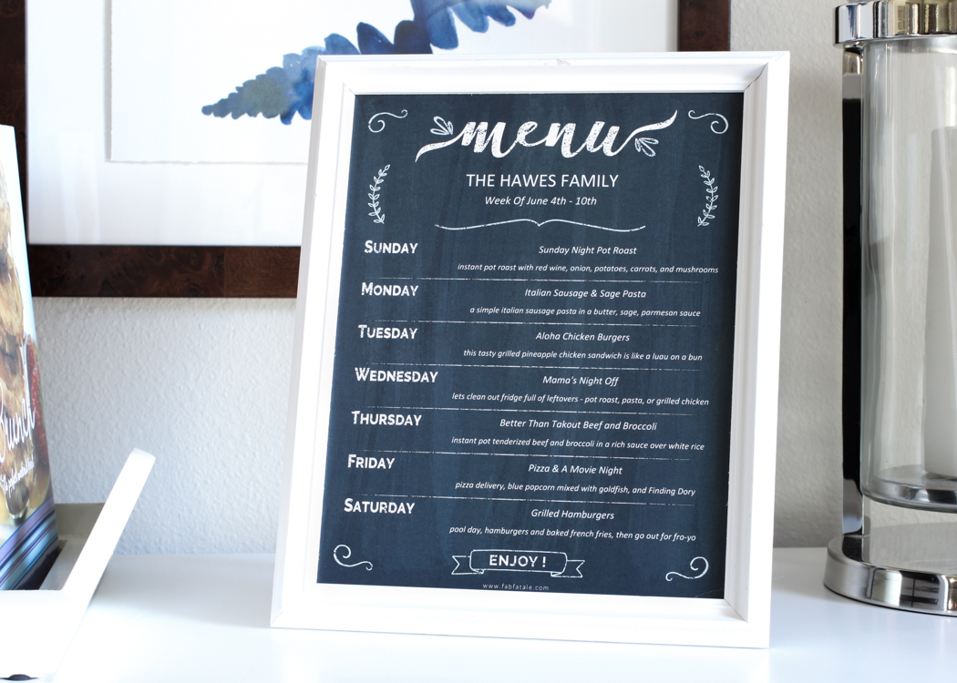 loving this editable free chalkboard menu printable for family meal planning. makes it easy to stick to our plan and know who is cooking each night. great meal planning app, MealBoard, review as well.